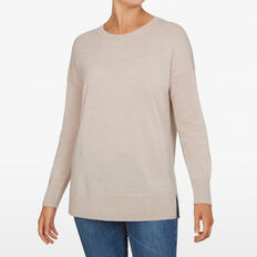 CREW NECK WOOL BLEND KNIT  OATMEAL  hi-res