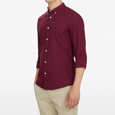 BURGUNDY CUSTOM FIT SHIRT  BURGUNDY  hi-res