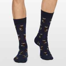 MONKEY 1PK SOCKS  NAVY MARL  hi-res