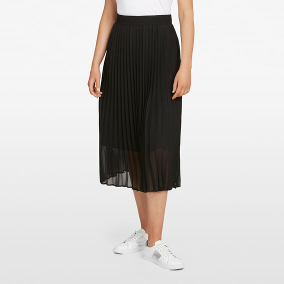PLEATED MIDI SKIRT  BLACK  hi-res