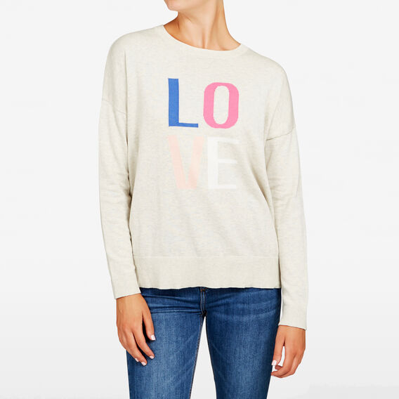 LOVE INTARSIA KNIT  OATMEAL MULTI  hi-res