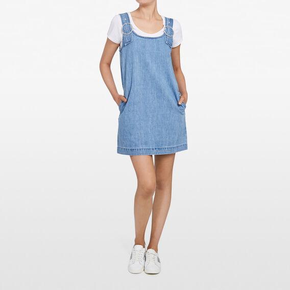 PINAFORE DENIM DRESS  STONE WASH  hi-res