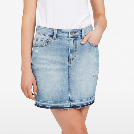 DETAIL HEM DENIM SKIRT  STONE WASH  hi-res