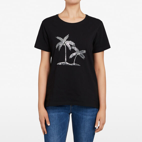 EMBELLISHED PALM TREE TEE  BLACK/MULTI  hi-res