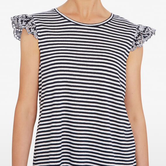 FRILL SLEEVE EMBROIDERED TEE  NOCTURNAL  hi-res