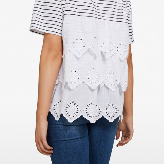 LACE BACK TIERED TEE  SUMMER WHITE  hi-res
