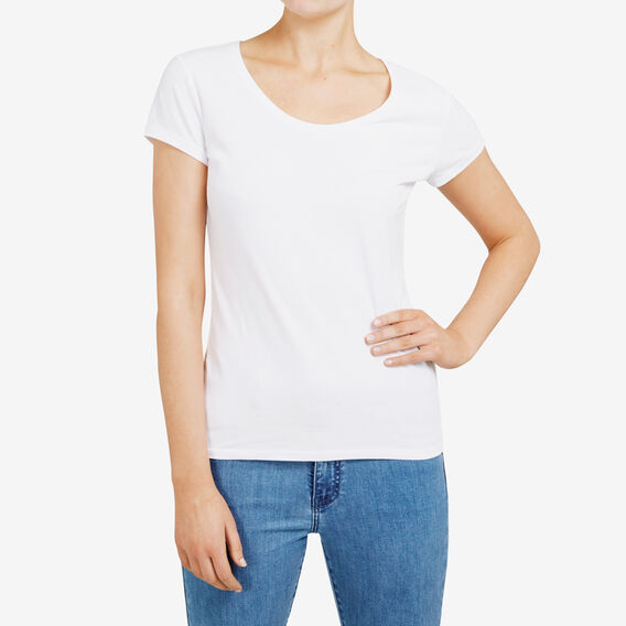 HAYLEY STRETCH SCOOP NECK  WHITE  hi-res