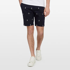 PINEAPPLE EMBROIDERED SHORT  MARINE BLUE  hi-res