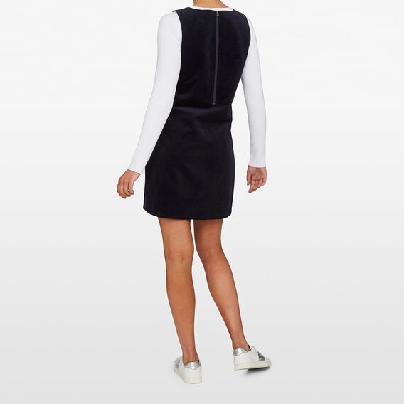 CORD PINAFORE SHIFT DRESS  NAVY  hi-res