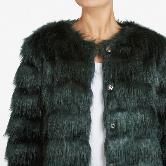 FLUFFY STRIPE JACKET  FOREST GREEN  hi-res