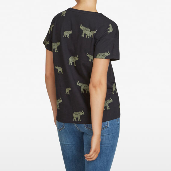 ELEPHANT PRINTED TEE  BLACK/MULTI  hi-res