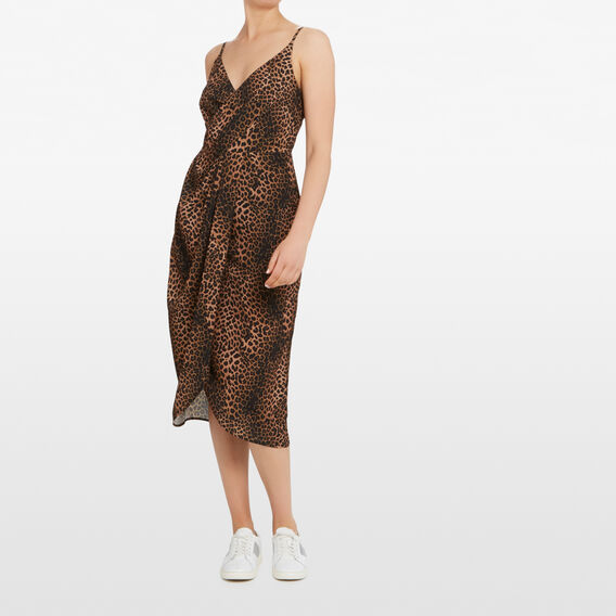 OCELOT PRINTED WRAP DRESS  MULTI  hi-res