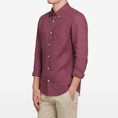 LINEN CLASSIC FIT SHIRT  BERRY  hi-res