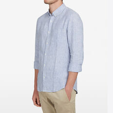 LINEN CLASSIC FIT SHIRT  STRIPE  hi-res