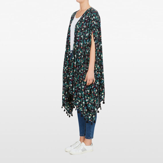 FLORAL PRINTED KAFTAN  BLACK/MULTI  hi-res