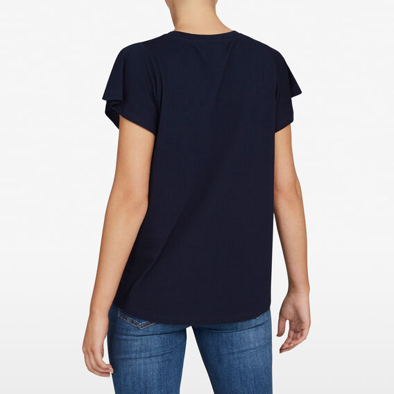 FLUTTER SLEEVE DIAMANTE TEE  NOCTURNAL/SILVER  hi-res