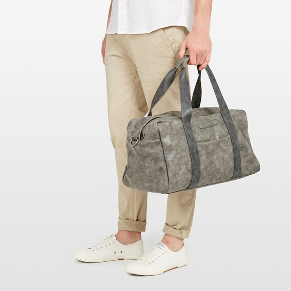 LEATHER LOOK DUFFLE BAG  VINTAGE DARK GREY  hi-res