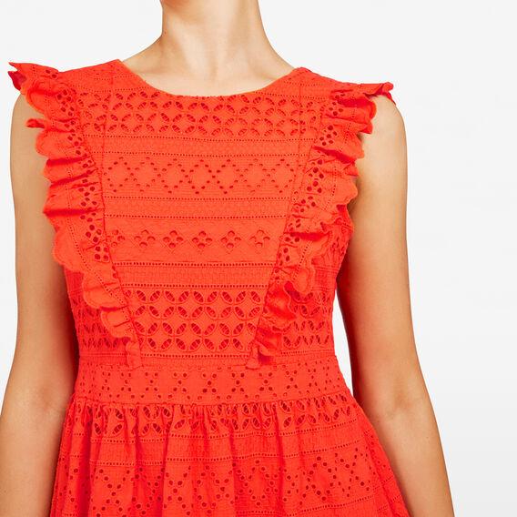 LACE FLUTTER SLEEVE DRESS  RED  hi-res