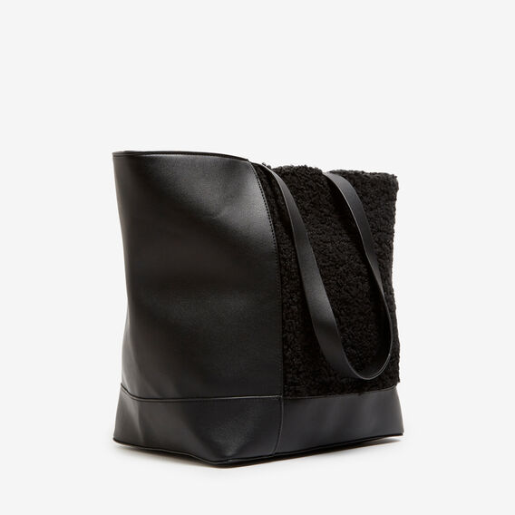 TEDDY TOTE  BLACK/NATURAL  hi-res