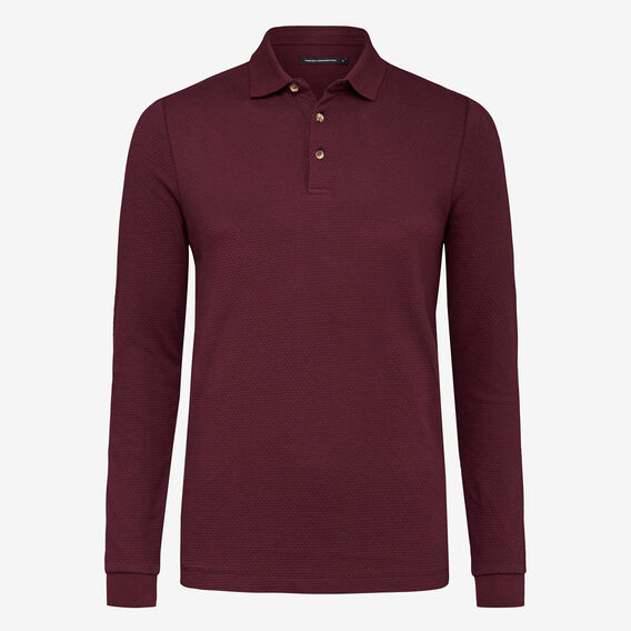 PLUM WAFFLE LONG SLEEVE POLO  PLUM  hi-res