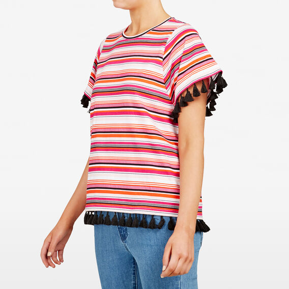 STRIPE TASSEL TEE  MULTI  hi-res