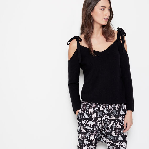 SHOULDER TIE KNIT  BLACK  hi-res
