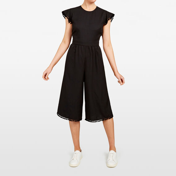 POM POM HEM JUMPSUIT  BLACK  hi-res