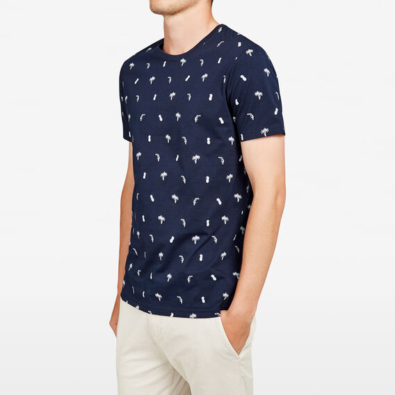 TOUCAN PALMS ALL OVER CREW NECK T-SHIRT  MARINE BLUE  hi-res