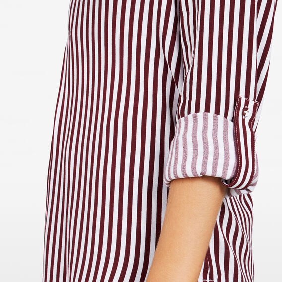 STRIPE POPOVER SHIRT  SUMMER WHITE/BURGUND  hi-res
