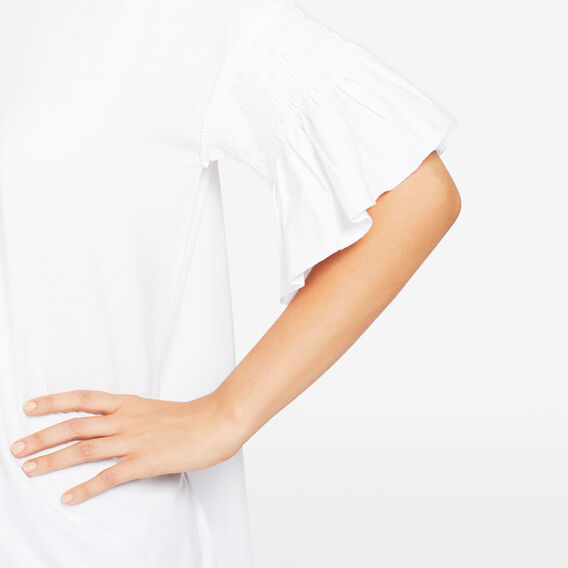PINTUCK BELL SLEEVE TEE  SUMMER WHITE  hi-res
