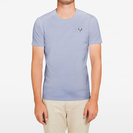 PANDA CHEST EMBROIDERED T-SHIRT  CHALK BLUE  hi-res