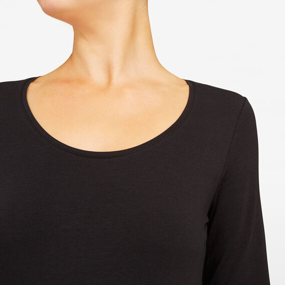 HAYLEY LONG SLEEVE SCOOP NECK  BLACK  hi-res
