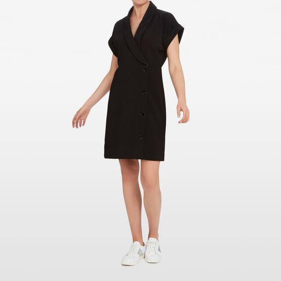 BUTTON DOWN WRAP DRESS  BLACK  hi-res