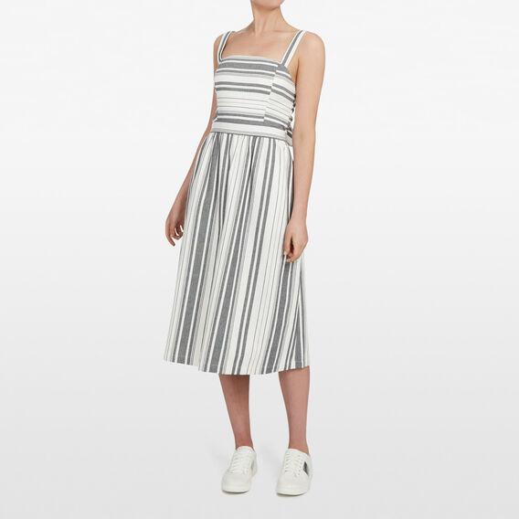STRIPE TIE BACK DRESS  SUMMER WHITE/BLACK  hi-res