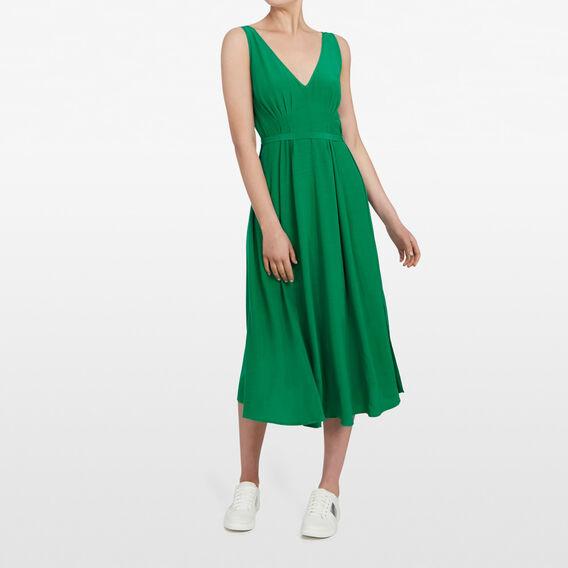 V-NECK MAXI DRESS  LEAF GREEN  hi-res