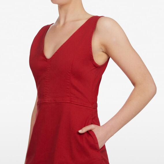RED DENIM V NECK DRESS  RED  hi-res