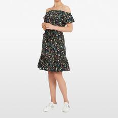 DITSY EXOTIC OFF SHOULDER DRESS  BLACK/MULTI  hi-res