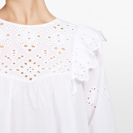 LACE RUFFLE SHIRT  SUMMER WHITE  hi-res