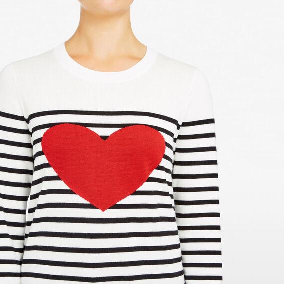 STRIPE HEART KNIT  SUMMERWHITE/BLCK/RED  hi-res