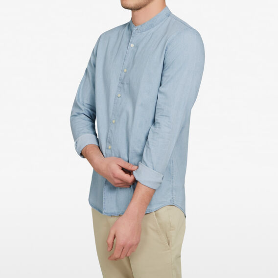 CHAMBRAY GRANDPA COLLAR CUSTOM FIT SHIRT  CHAMBRAY  hi-res
