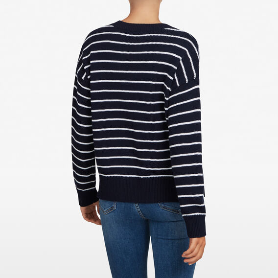 STRIPE CREW NECK KNIT  NOCTURNAL/SUMMER WHI  hi-res