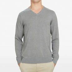 COTTON V-NECK KNIT  MID GREY MARL  hi-res