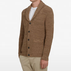 TOBACCO SHAWL NECK CARDIGAN  WASHED TOBACCO  hi-res