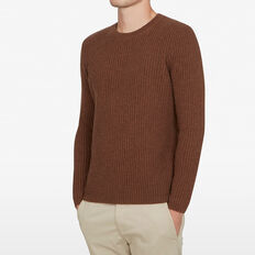 WOOL BLEND KNIT  TOFFEE MELANGE  hi-res