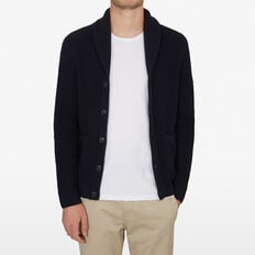 SHAWL NECK CARDIGAN  MARINE BLUE MARL  hi-res