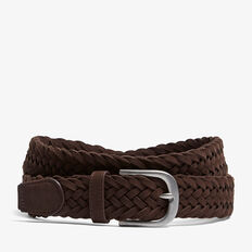 SUEDE PLAITED BELT  DARK CHOCOLATE  hi-res