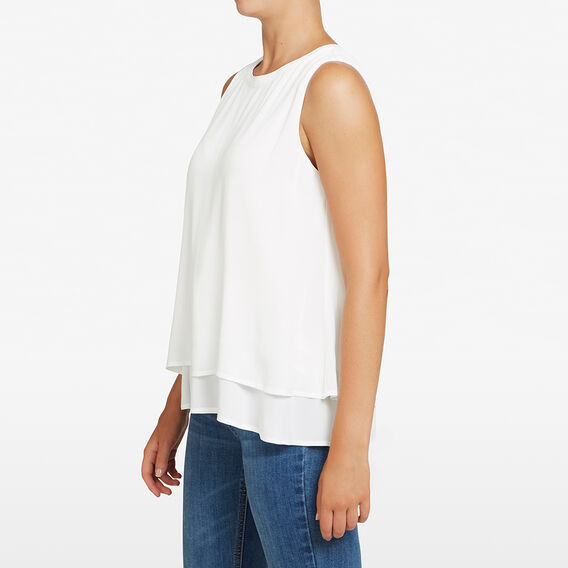 SLEEVELESS DOUBLE LAYER TOP  OFF WHITE  hi-res