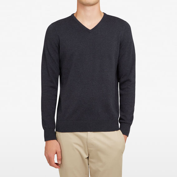COTTON V-NECK KNIT  MARINE BLUE MARL  hi-res