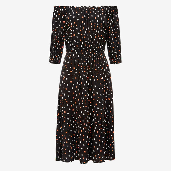 IRREGULAR SPOT OFF SHOULDER DRESS  BLACK/WHITE/PAW PAW  hi-res