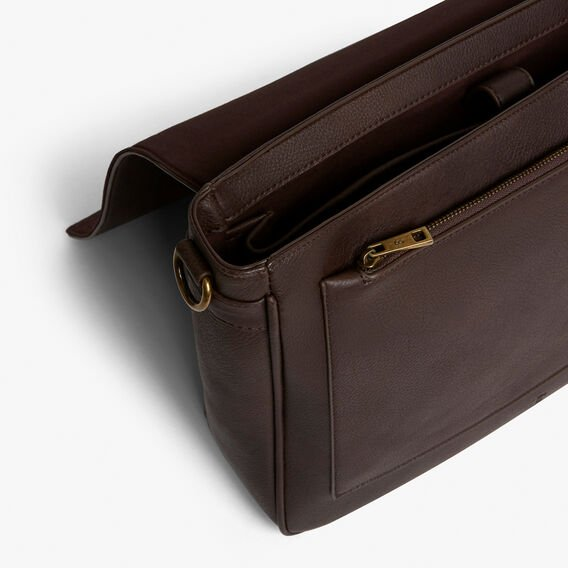 LEATHER LOOK MESSENGER BAG  CHOCOLATE  hi-res